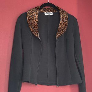 NEXT ERA Faux Leopard Fur Cropped Jacket